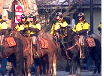 Mounted police below the Olympic Stadium