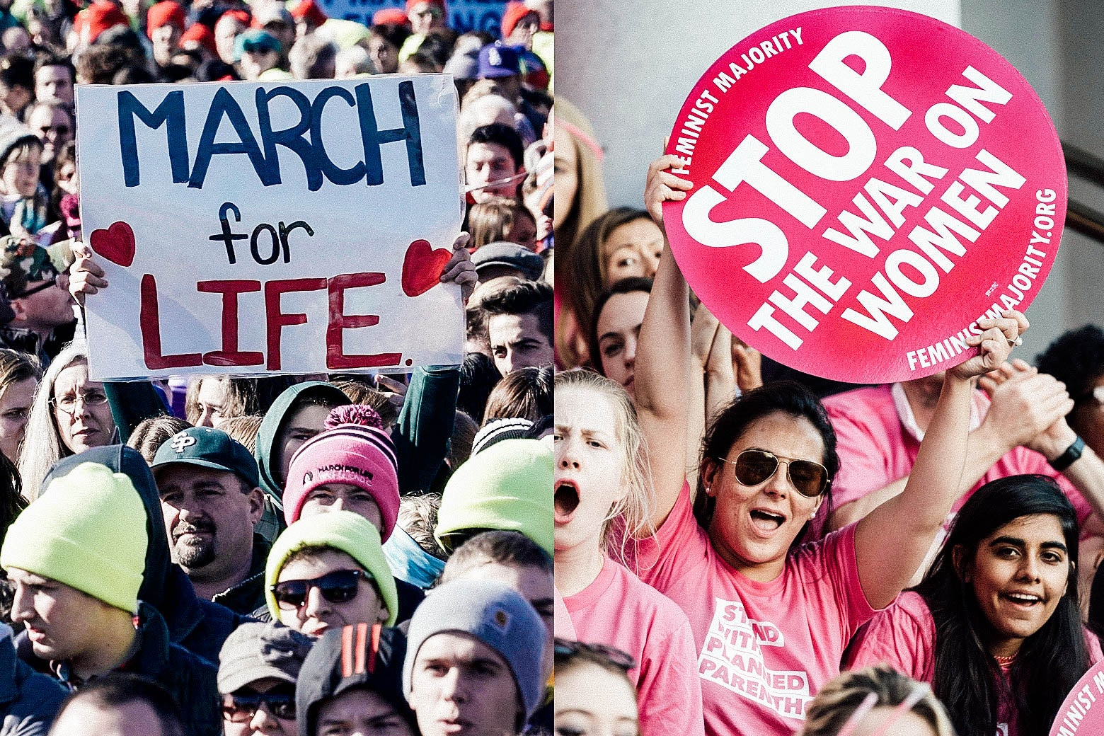 "At left: Demonstrators attend the March for Life. At right, protesters in support of Planned Parenthood hold up a sign that says, ""Stop the war on women."""