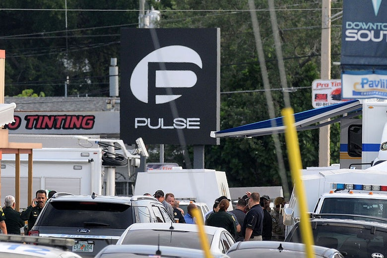 The scene around the Pulse nightclub on June 12, 2016 after the attack.