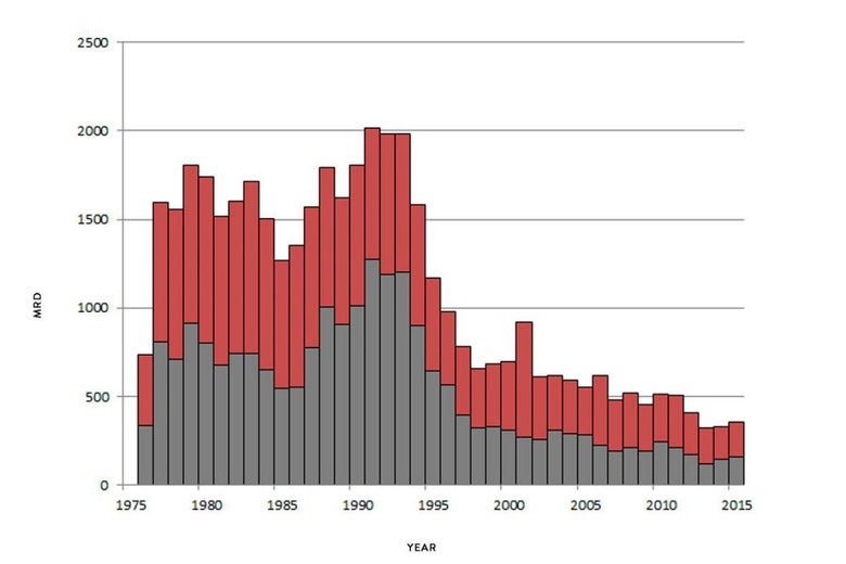 New York City homicide crime reports graph