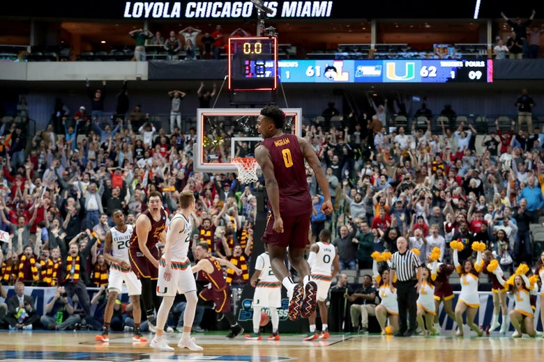 DALLAS, TX - MARCH 15:  Donte Ingram #0 of the Loyola Ramblers celebrates after his game-winning three pointer against the Miami Hurricanes in the first round of the 2018 NCAA Men's Basketball Tournament at American Airlines Center on March 15, 2018 in Dallas, Texas.  (Photo by Tom Pennington/Getty Images)
