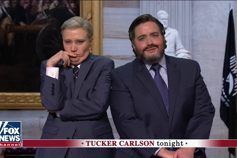 Kate McKinnon as Lindsey Graham and Aidy Bryant as Ted Cruz, in a stil from SNL.