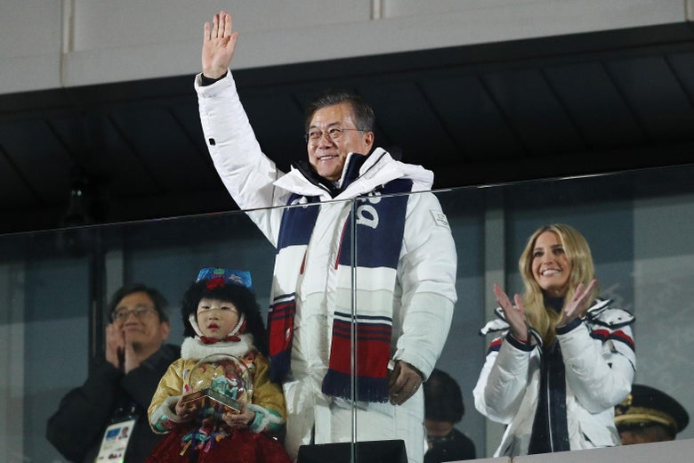 President Moon Jae-in of South Korea attends the Closing Ceremony of the PyeongChang 2018 Winter Olympic Games.