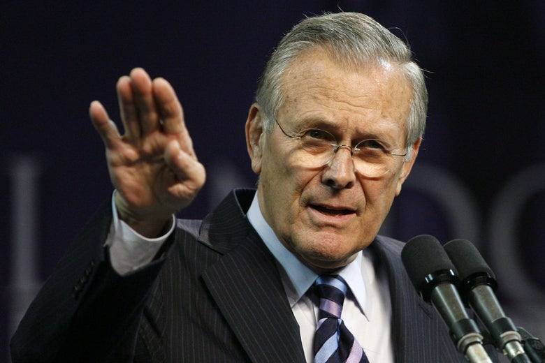 MANHATTAN, KS - NOVEMBER 9:  Outgoing U.S. Defense Secretary Donald Rumsfeld delivers the 146th Landon Lecture inside Bramlage Coliseum at Kansas State University on November 09, 2006 in Manhattan, Kansas. Rumsfeld resigned as Defense Secretary the day before giving the lecture at Kansas State University and will be replaced, if confirmed, by former CIA Director Robert Gates.   (Photo by Larry W. Smith/Getty Images)