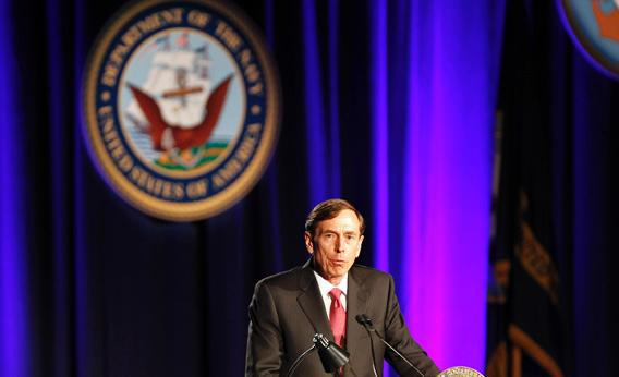 Former CIA director and retired general David H. Petraeus speaks as the keynote speaker at the University of Southern California annual dinner for veterans and ROTC students, in Los Angeles, March 26, 2013.