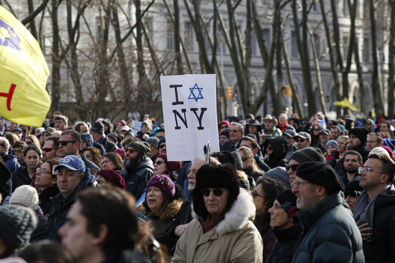 People attend a march in support of the Jewish community in Cadman Plaza on January 5, 2020 in New York City.