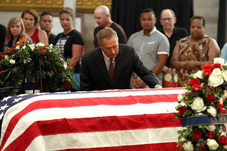 Ohio Gov. John Kasich pays his respects to the late Sen. John McCain (R-AZ) as his casket lies in state during a memorial service in his honor at the Rotunda of the U.S. Capitol, August 31, 2018 in Washington, DC. The late senator died August 25 at the age of 81 after a long battle with Glioblastoma, a form of brain cancer. He will lie in state at the U.S. Capitol on Friday, then a memorial service will be held at the Washington National Cathedral on Saturday. Sen. McCain will be buried at his final resting place at the U.S. Naval Academy on Sunday.