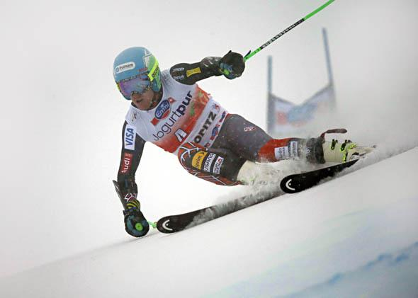 Ted Ligety of the USA takes 1st place during the Audi FIS Alpine Ski World Cup Men's Giant Slalom on February 02, 2014 in St. Moritz, Switzerland.