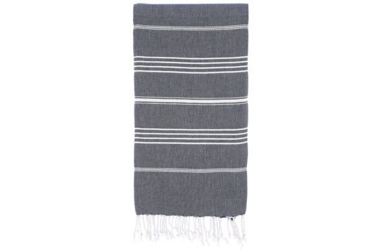 Grey with white stripes Turkish towel.