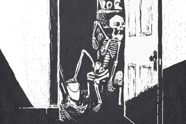 A skeleton pops out of an open closet door.