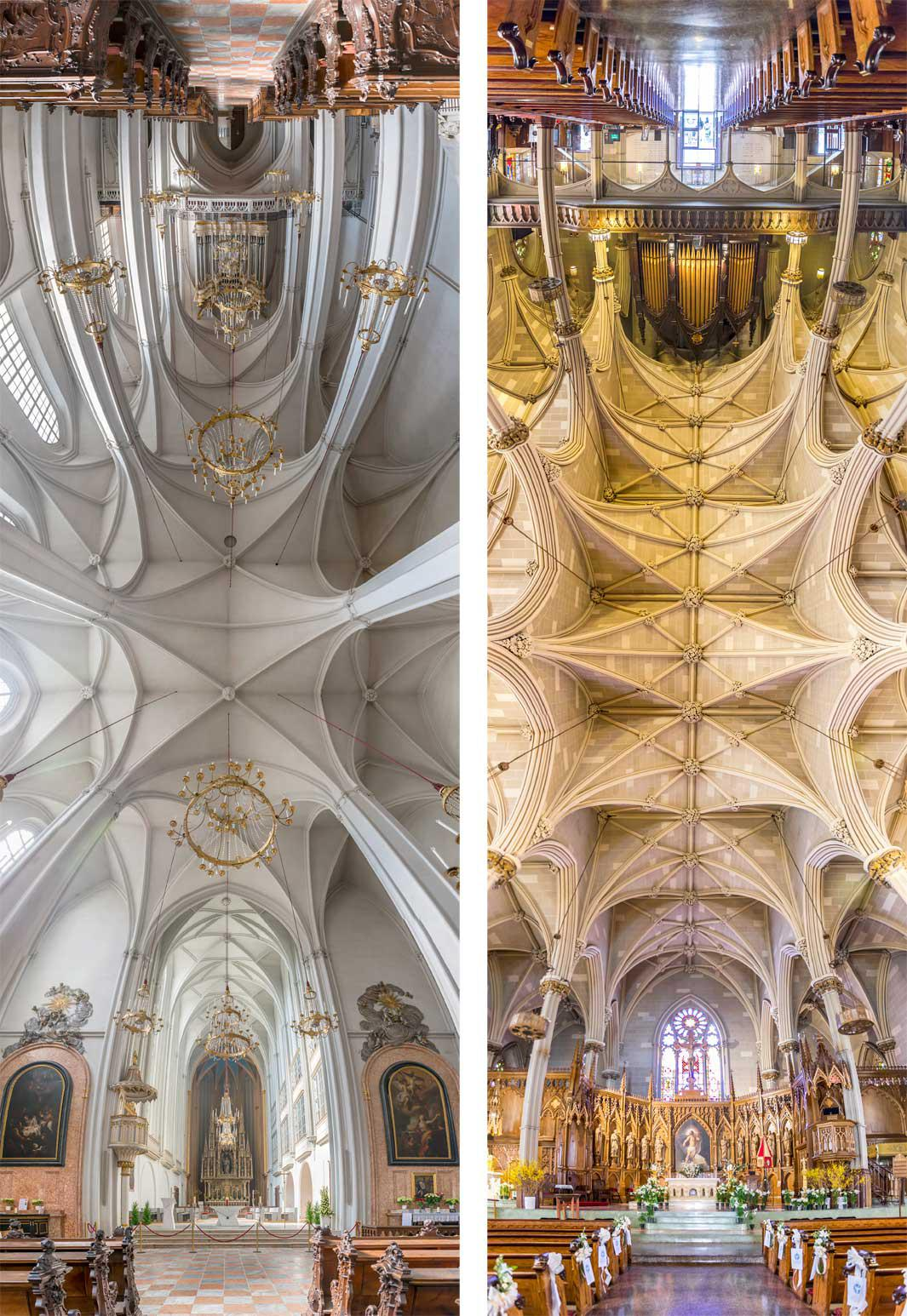 Left: Augustinian Church, Vienna. Right: The Basilica of Saint Patrick's Old Cathedral, New York