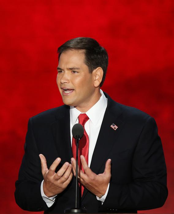 U.S. Senator Marco Rubio (FL) speaks during the final day of the Republican National Convention last week in Tampa, Fla.