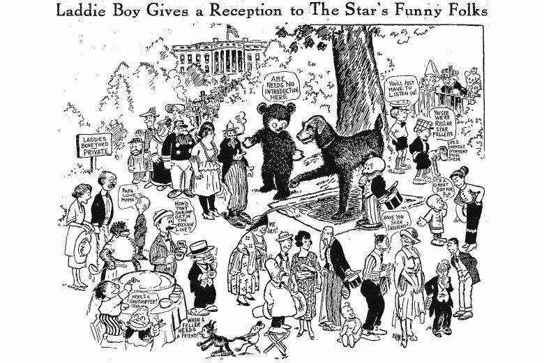A drawing showing Laddie Boy shaking hands with a variety of 1920s comic strip characters.