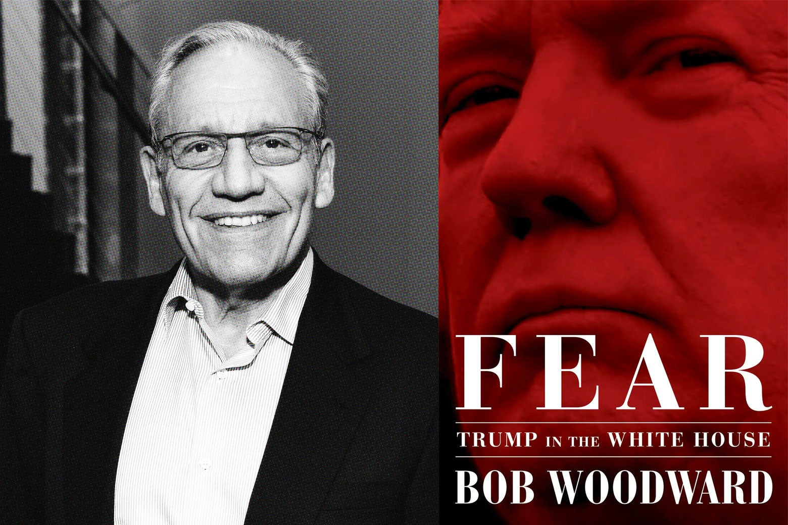 Photo illustration: Bob Woodward and the cover of Fear, side by side.