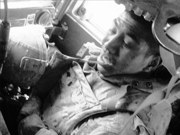 Tausolo Aieti in his Humvee in Baghdad, moments after the explosion.