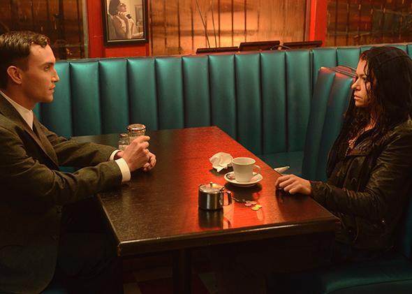 Ari Millen as Mark and Tatiana Maslany as Sarah in Season 2 of Orphan Black.