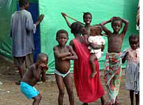 Liberian refugees in the Tabou camp