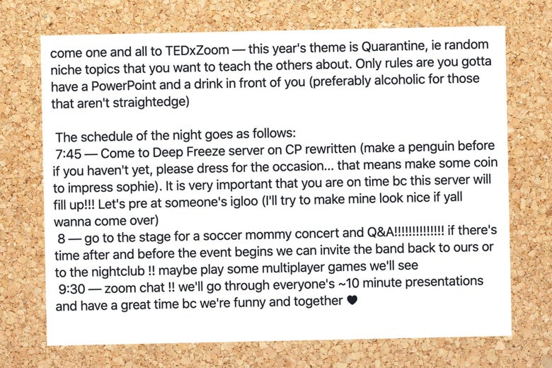 A facebook post titled TedX zoom.