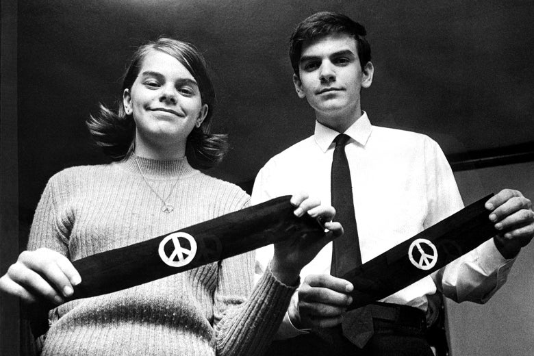 Mary Beth Tinker and her brother, John, display two black armbands, the objects of a U.S. Supreme Court case, in 1968.