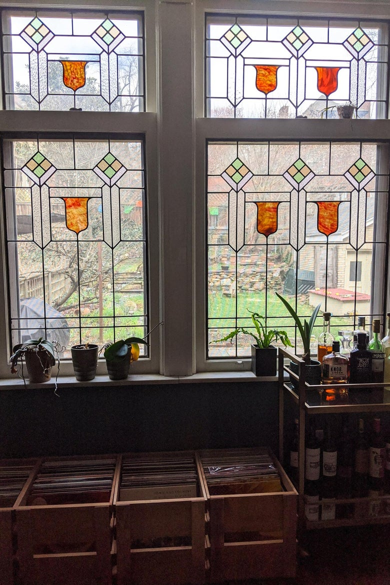 View from a stained glass window.