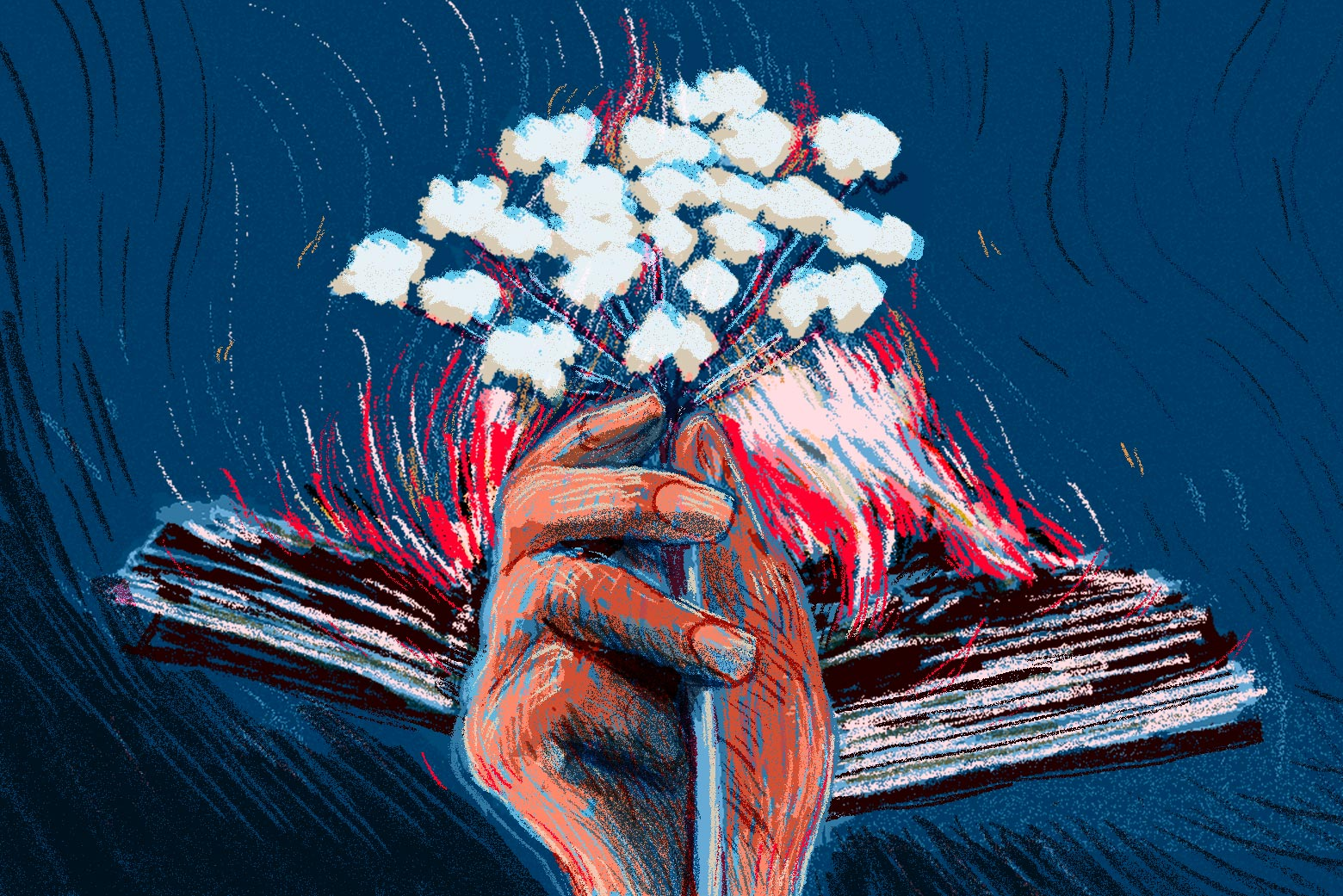 Hand holding a sprig of cow parsnip, in front of a burning book.