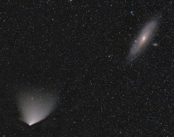 Comet and galaxy