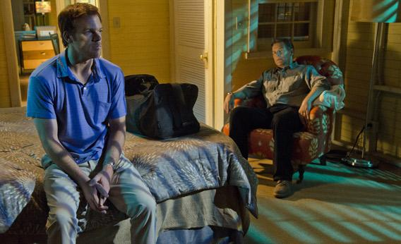 James Remar as Harry Morgan and Michael C. Hall as Dexter Morgan.
