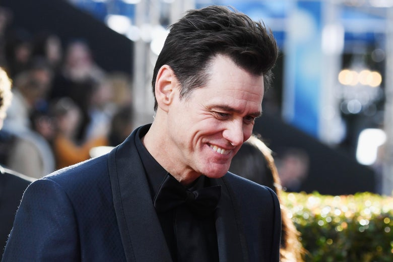 Jim Carrey attending the Golden Globe awards.