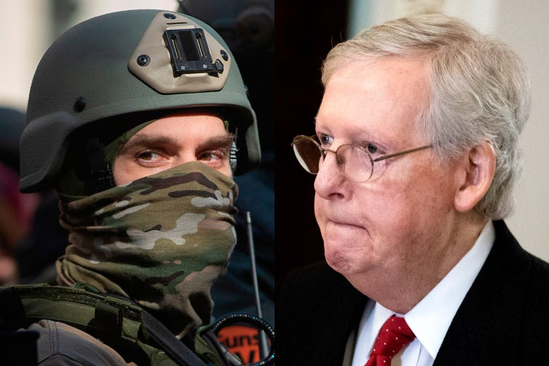 Side-by-side photos of a man wearing a helmet and a camo bandana, and Mitch McConnell.