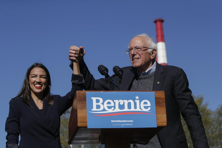 Rep. Alexandria Ocasio-Cortez (D-NY) endorses Democratic presidential candidate, Sen. Bernie Sanders (I-VT) at a campaign rally in Queensbridge Park on October 19, 2019 in the Queens borough of New York City.