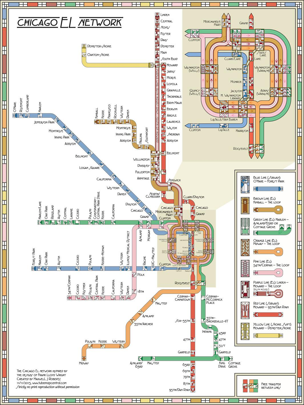 "L Chicago Map A decorative Chicago ""L"" map by Max Roberts that is an ode to"