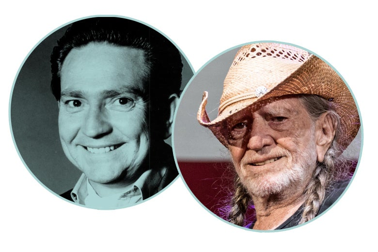Photos of a young Willie Nelson and older Willie Nelson