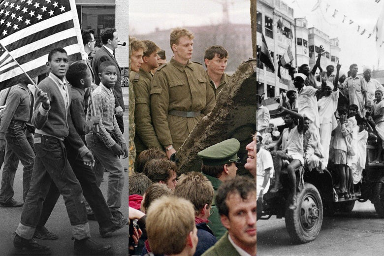 Three photos are shown side by side: A young kid walks with two other kids in a march, with two of them carrying American flags; soldiers and citizenry look at the fallen Berlin Wall; a group of Indians ride on a car and raise their fists.