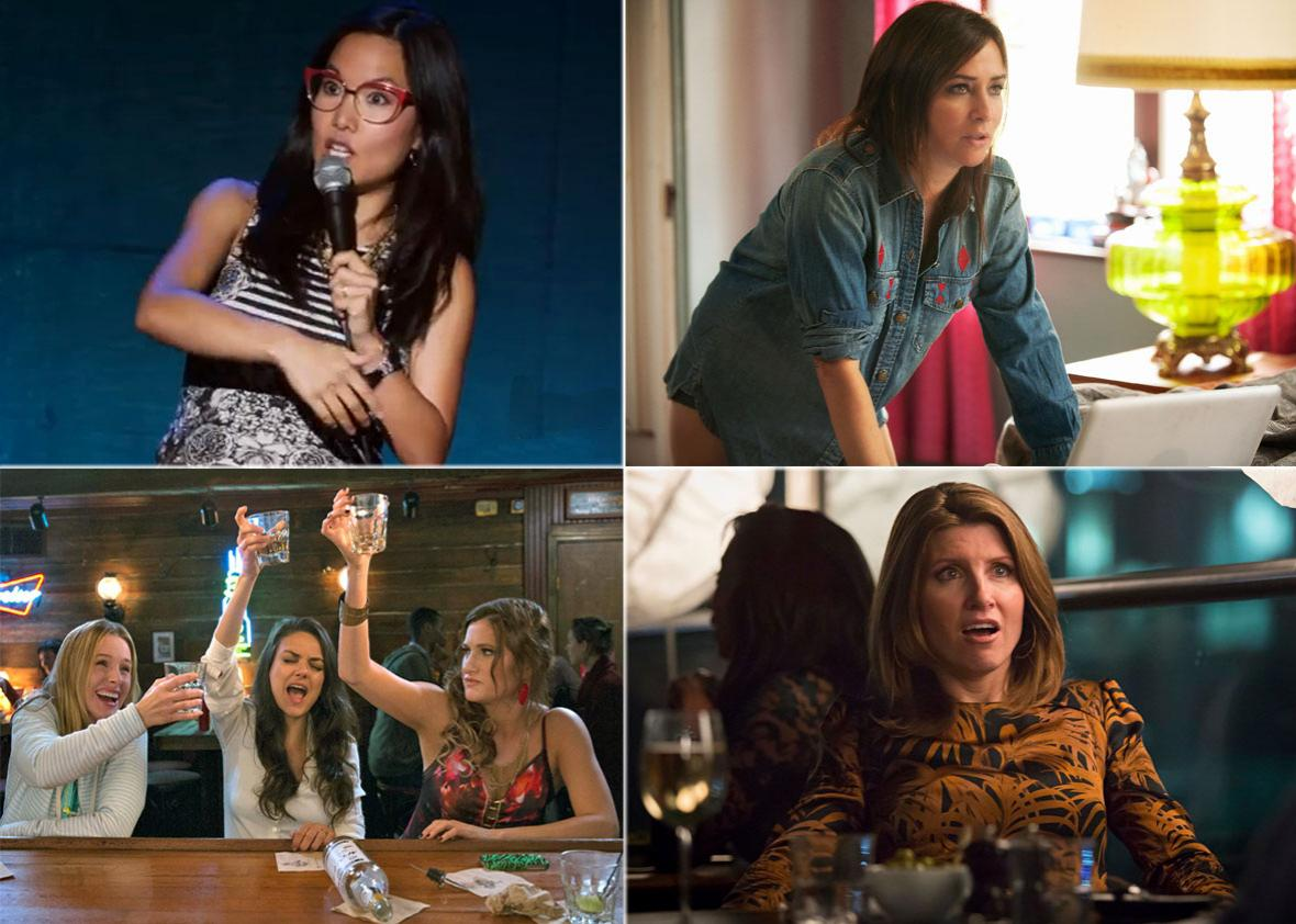 Ali Wong in Baby Cobra, Pamela Adlon in Better Things, Mila Kunis, Kristen Bell, and Kathryn Hahn in Bad Moms, and Sharon Horgan in Catastrophe.