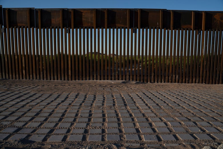 "Recently-installed ""Bollard"" style fencing is pictured on the US-Mexico border near Santa Teresa, New Mexico, on April 30, 2019."