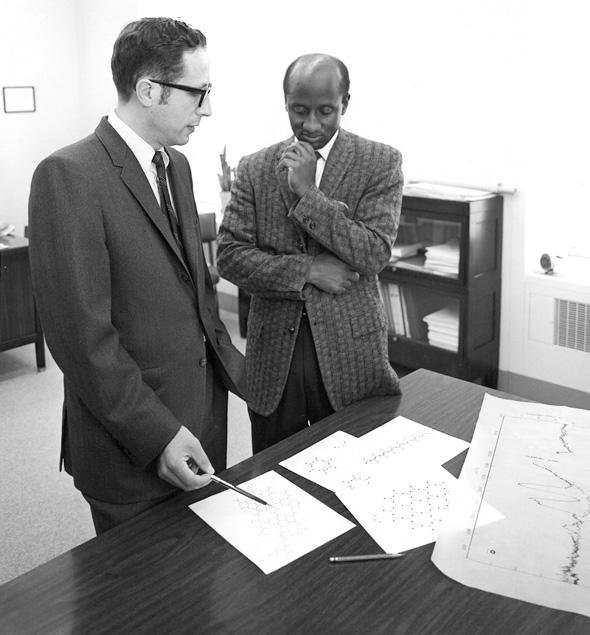 Robert R. Stromberg, left, and Warren Grant of the National Bureau of Standards