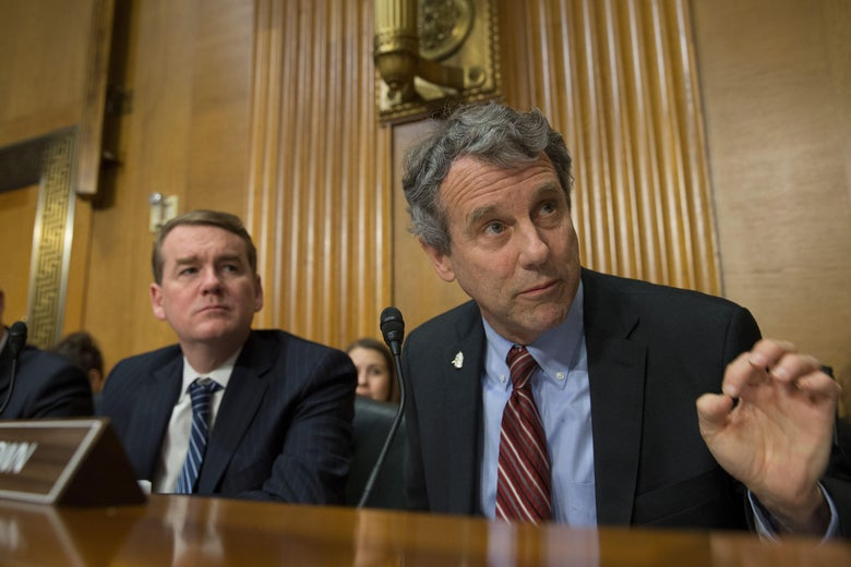 Senator Sherrod Brown (D), Ohio, is seen at the Senate Finance Committee full hearing on the nomination of the U.S Trade Representative in Washington, DC March 14, 2017. / AFP PHOTO / Tasos KATOPODIS        (Photo credit should read TASOS KATOPODIS/AFP/Getty Images)