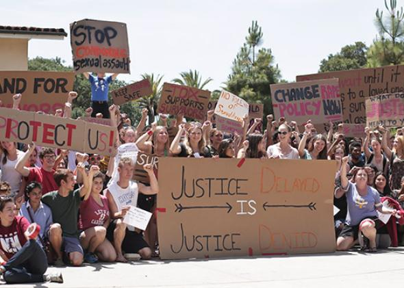Students protest Stanford's handling of sexual assault cases.