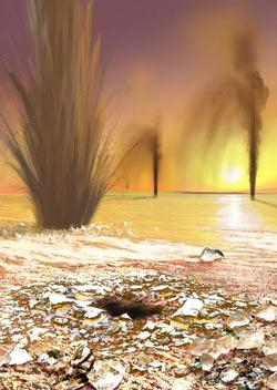 artwork of erupting carbon dioxide plumes on Mars