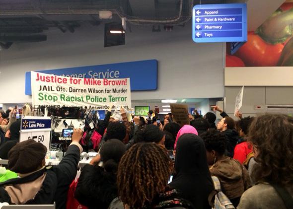 Ferguson protest Washington D.C. in Walmart