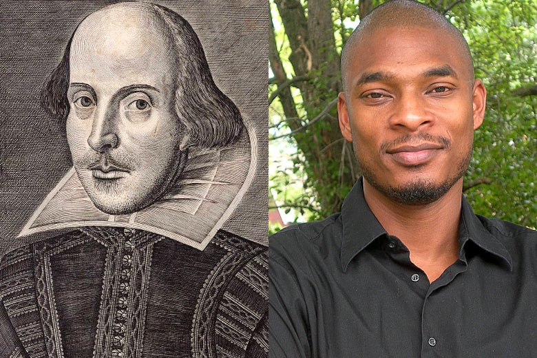 Side-by-side photo illustration of poets William Shakespeare and Terrance Hayes