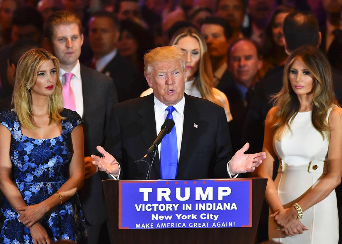 Surrounded by his supporters and family, Republican presidential candidate Donald Trump addresses the media at Trump Tower following primary election results on May 3, 2016 in New York, NY.
