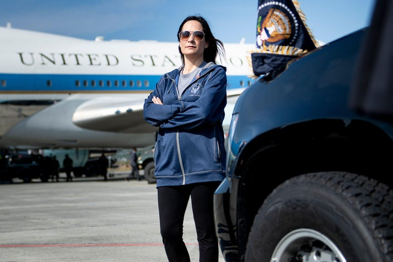 Stephanie Grisham waits as Air Force One is refuelled at Elmendorf Air Force Base while travelling to Japan June 26, 2019, in Anchorage, Alaska.