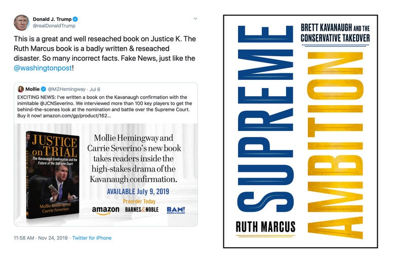 Donald Trump's tweet about Ruth Marcus' book and the cover of her book.