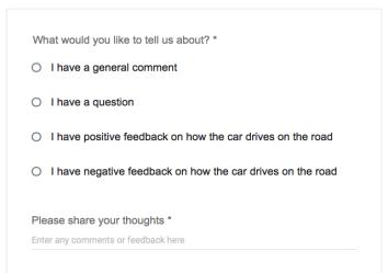 Google self-driving car feedback