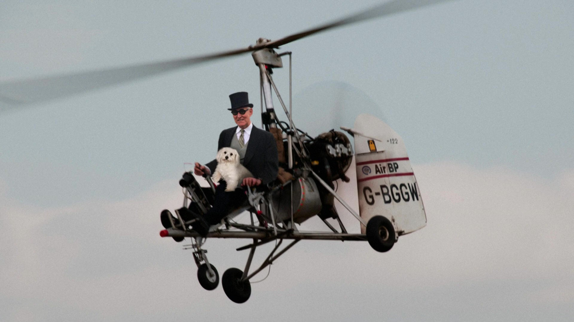 Roger Stone in an autogyro.