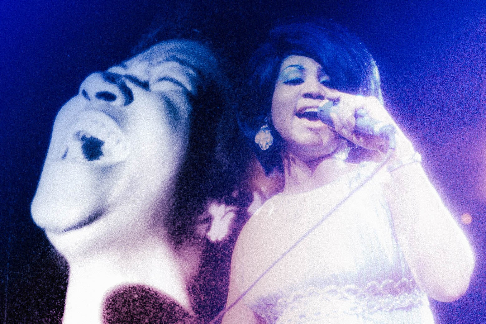 Collage of two photos of Aretha Franklin.