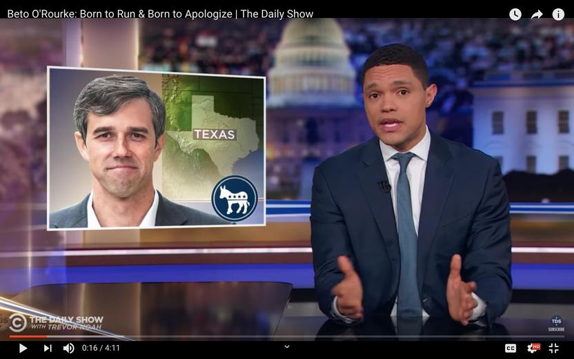 Trevor Noah Examines Beto O'Rourke's Hacking Controversy
