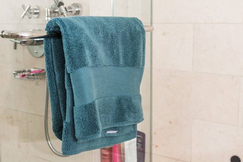Frontgate towel on a shower rod