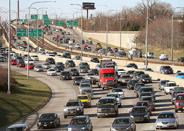 Traffic backs up on the Kennedy Expressway as commuters and holiday travelers try to get an early start on their Thanksgiving travel.